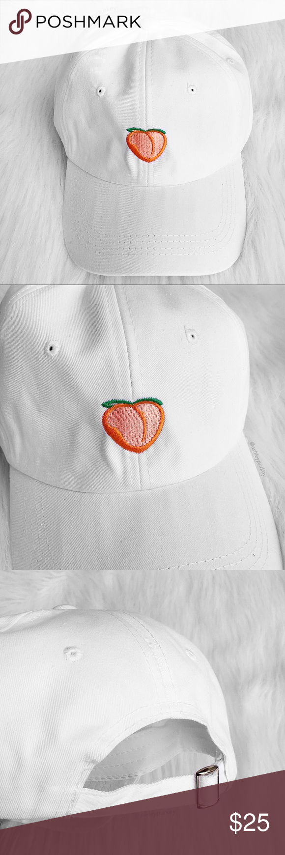 Pink peach embroidered white baseball hat Boutique