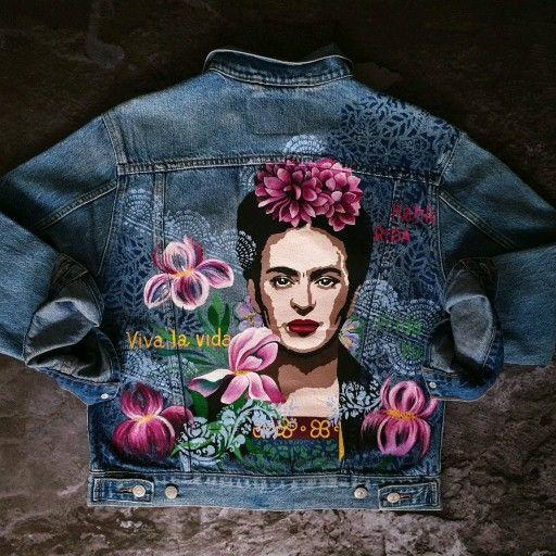 Hand painted Denim jacket unique acrylic painting handmade with Frida Kahlo art