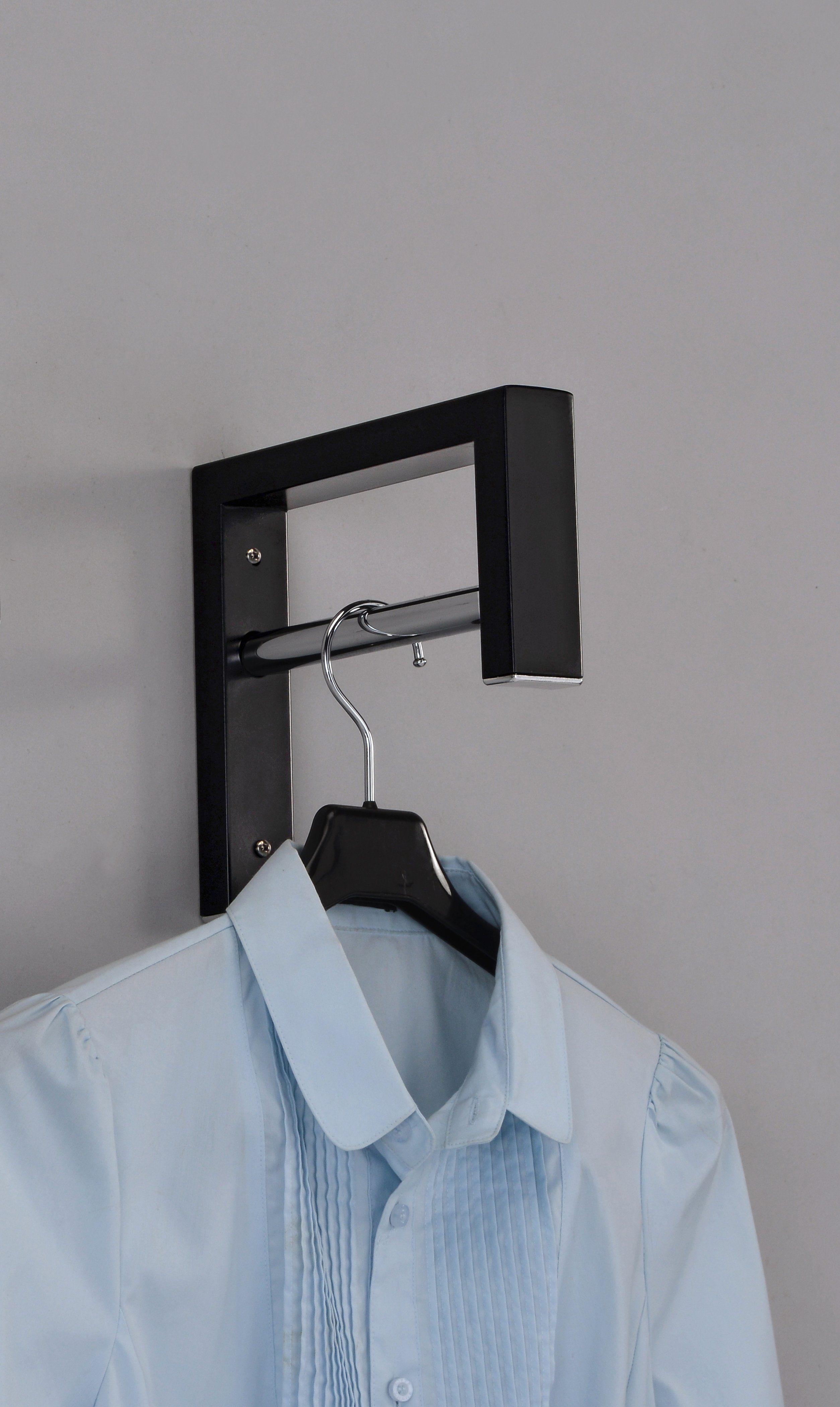 Albin Wall Mounted Cloth Rack Black Metal In 2020 Clothing Rack Clothes Hooks Hanger Rack