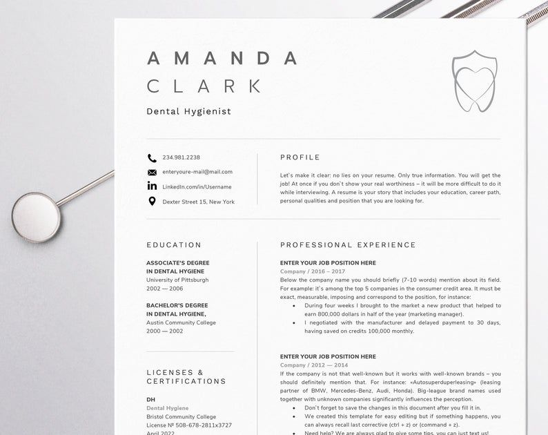 Dental assistant resume for word dentist cv template