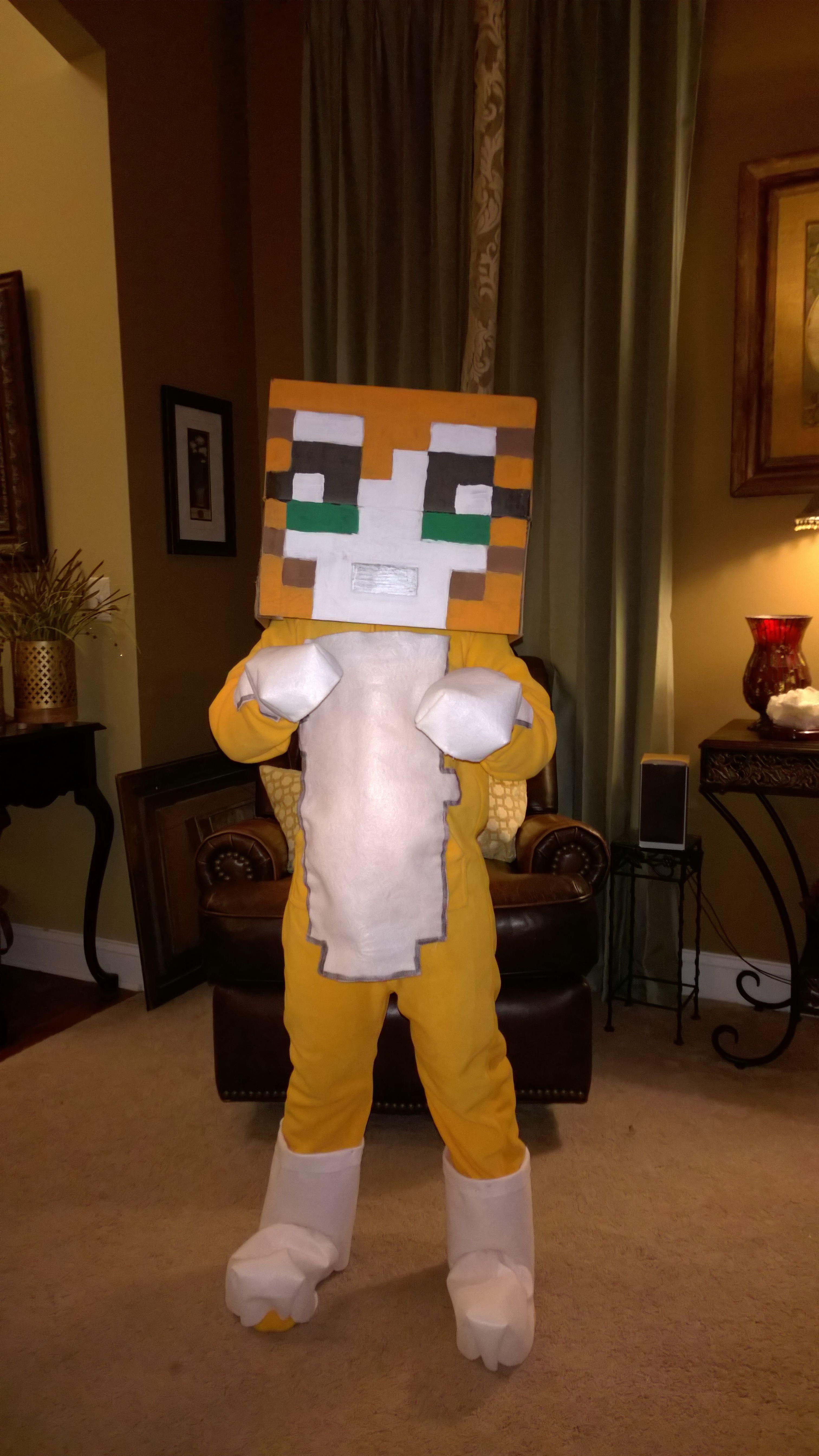 Minecraft Mr Stampy Cat Aka Longnose Longhead Halloween 2014 Costume Made For My Son Orange Sleeper With White Felt