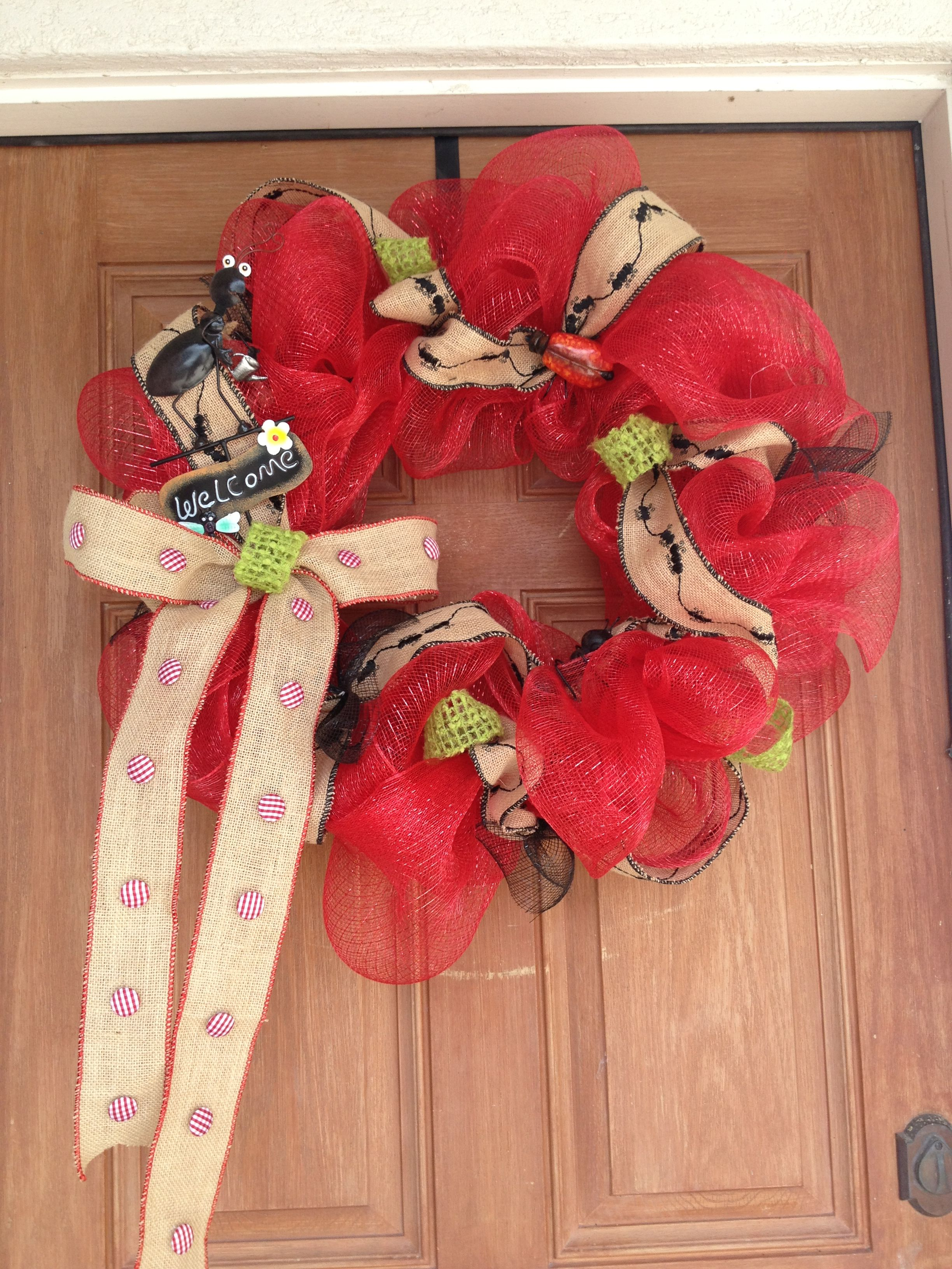 Summertime Ants At A Picnic Deco Mesh Wreath Wreaths