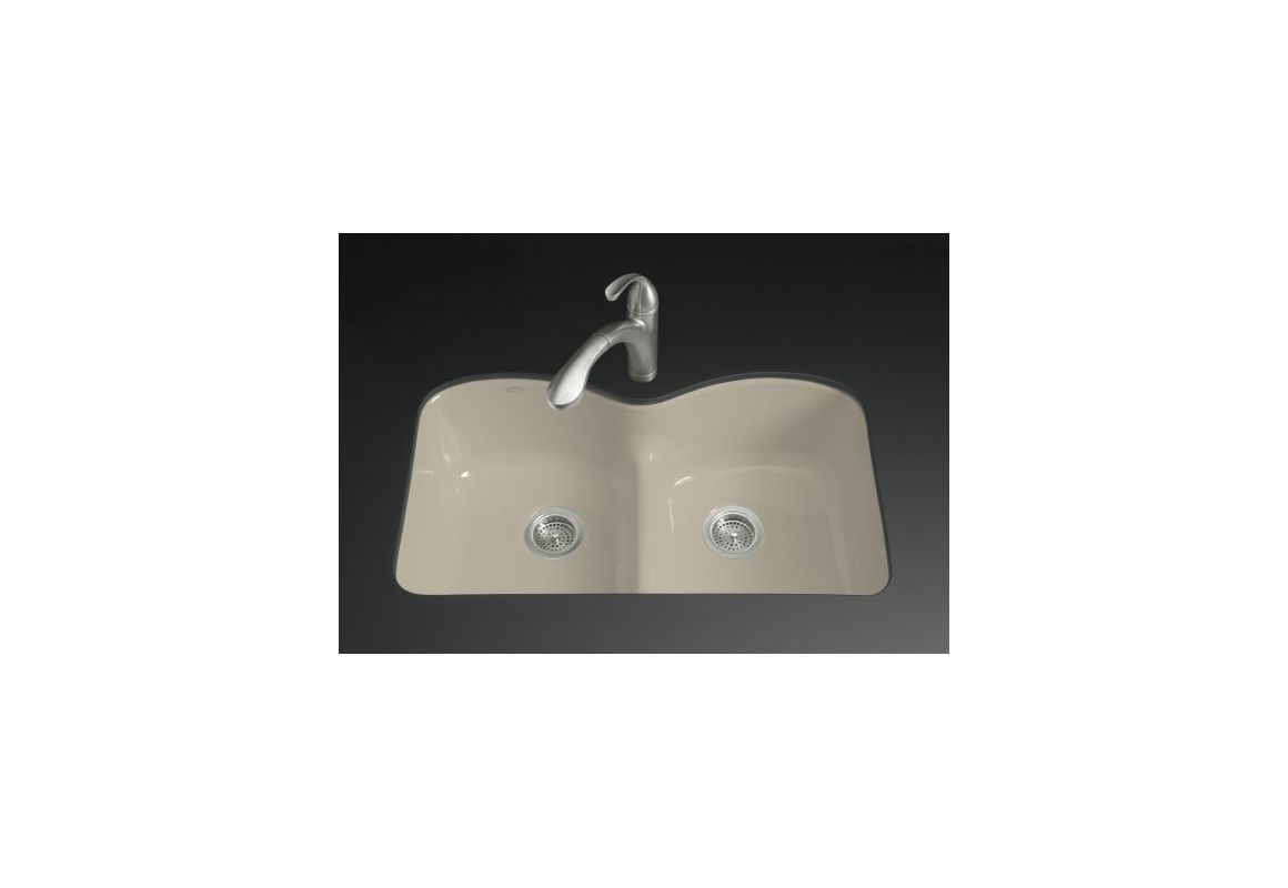 Cheap bathroom vanities under 24200 - Kohler K 6626 6u Langlade 33 Double Basin Under Mount Enameled Cast