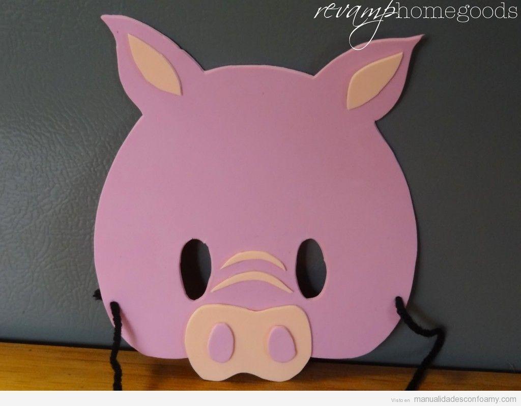 Manualidad goma eva para niños, máscara cerdo | máscaras y disfraces ...
