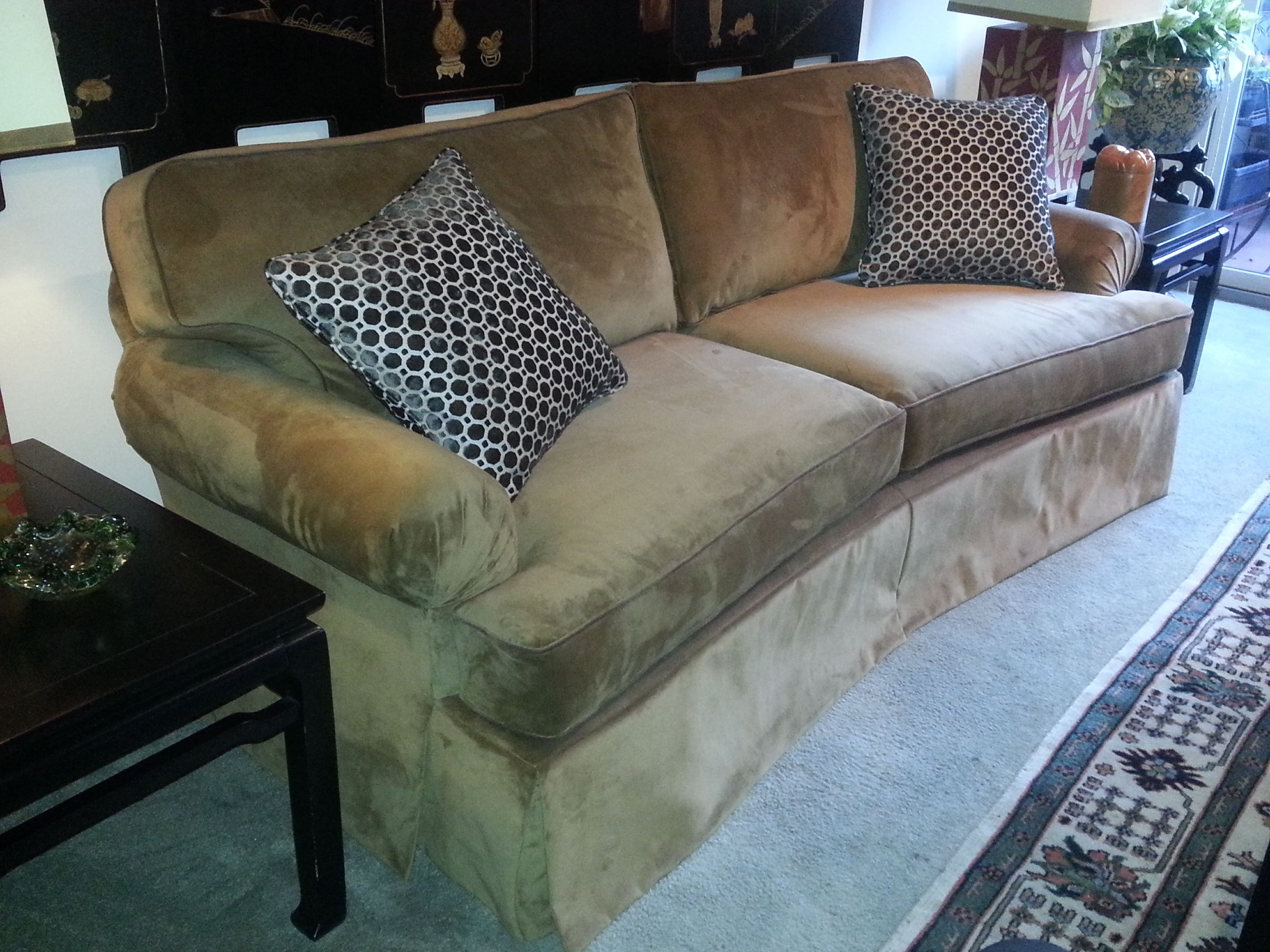 Toffee Velvet Upholstery And Chocolate Geo Pillows Upholstery Decor Upholster [ 2448 x 3264 Pixel ]