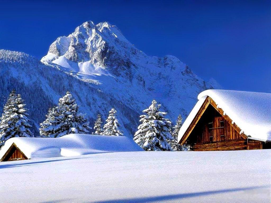 Fond d 39 ecran paysage hiver neige montagne cabane 38 ice for Fond ecran montagne