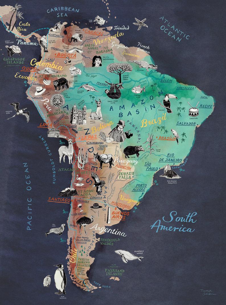 South America Map Art Print Illustrated Map Of Latin America Travel Illustration Poster Farewell Gift Giclee Print Living Room Art New America Map Art South America Map America Map