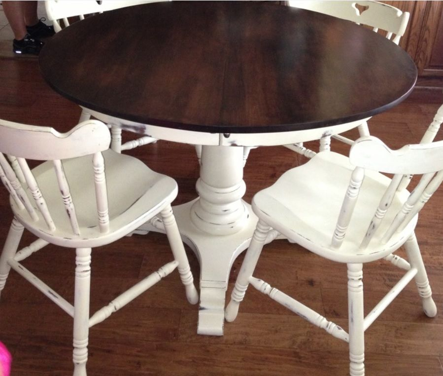 Table And Chairs Painted With Annie Sloan Chalk Paint In Old White