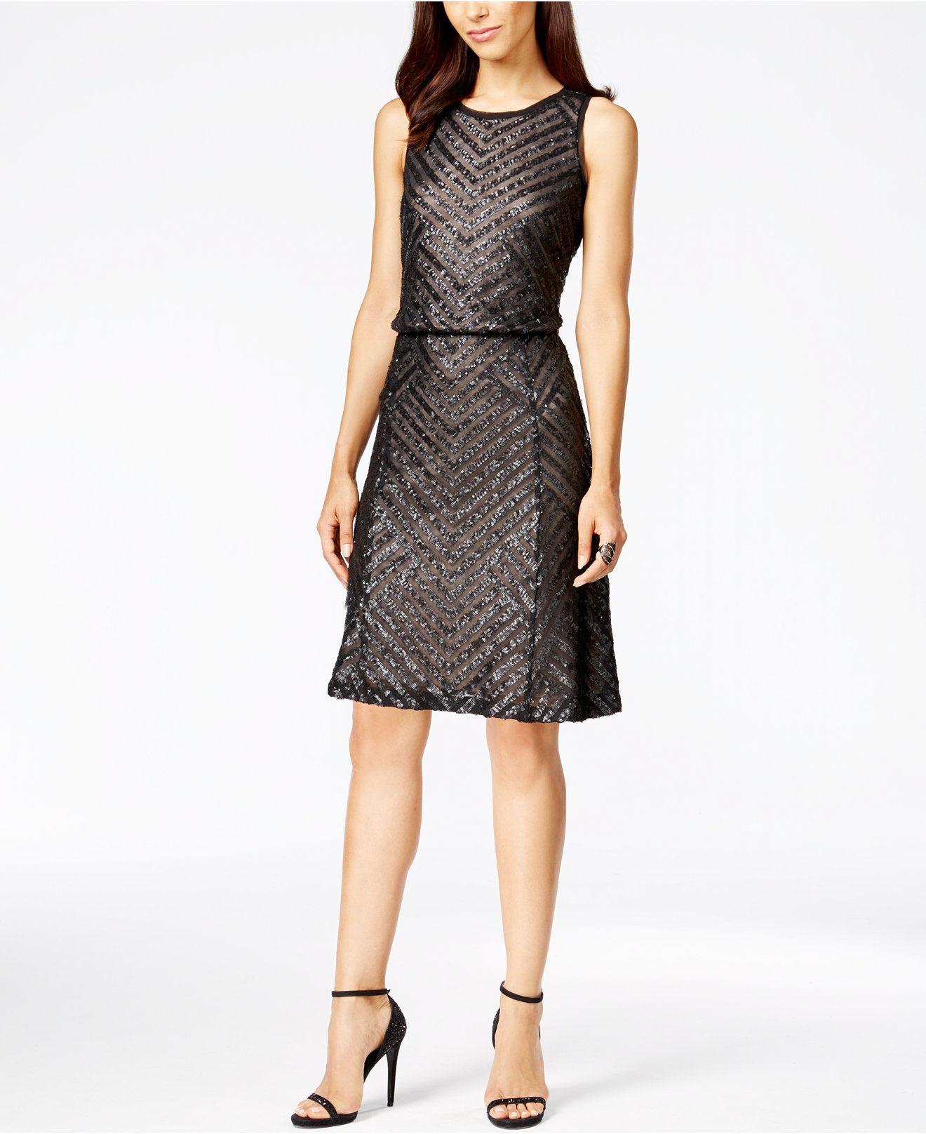 Calvin Klein Sequined Blouson Dress - Dresses - Women - Macy's $209