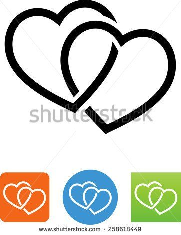 Two Intertwined Hearts Symbol For Download Vector Icons For Video