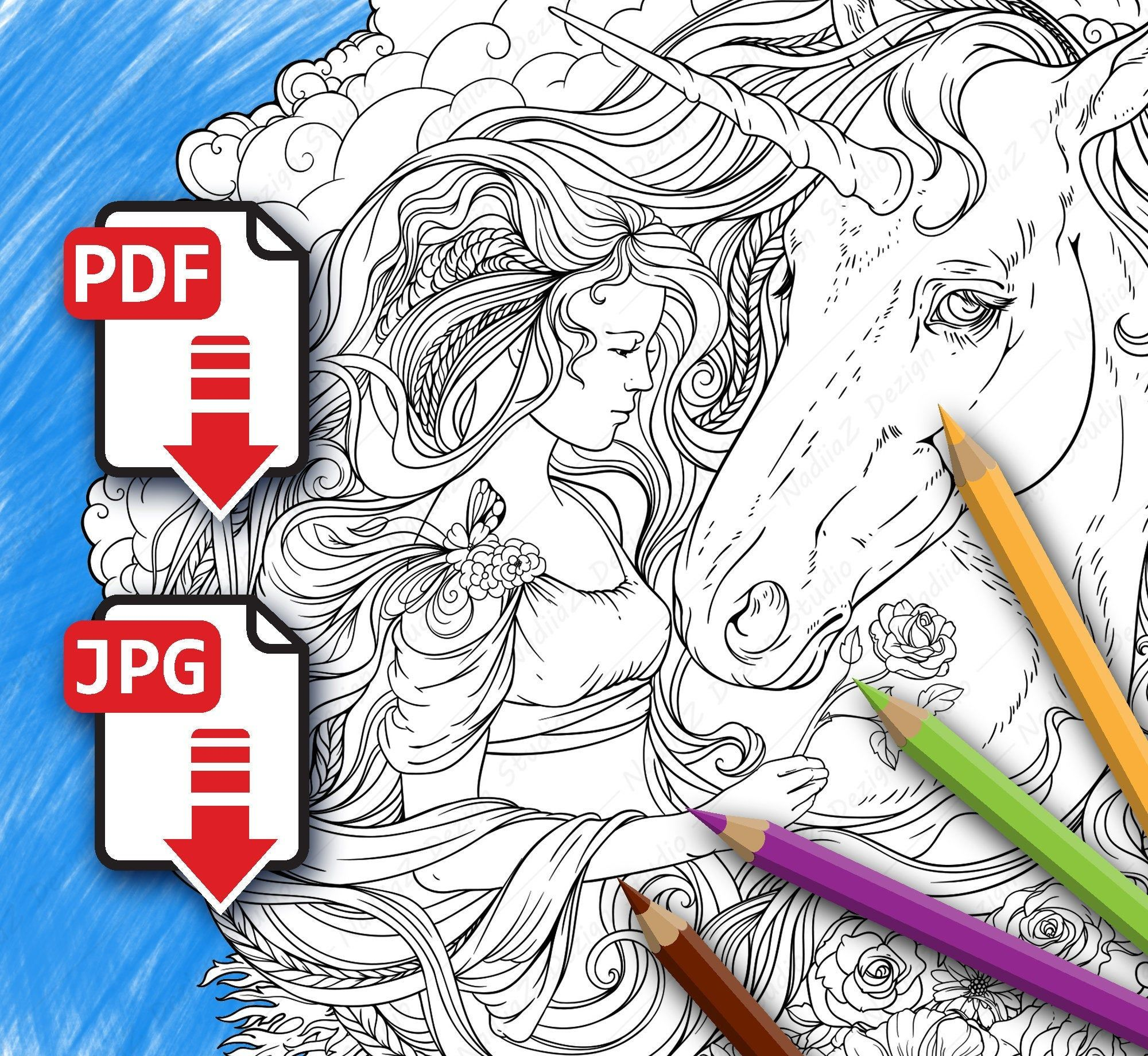Unicorn and a girl in clouds. PDF Coloring page, Printable ...
