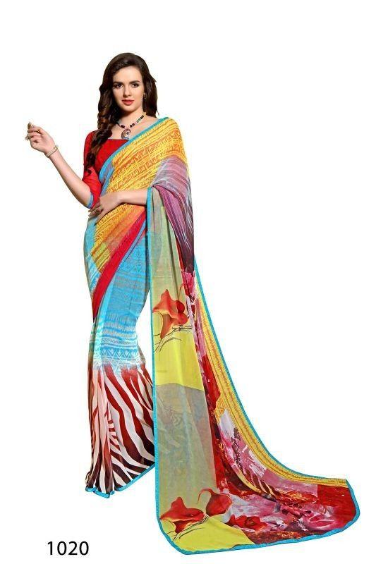 Yellow Colour Weightless Printed Saree Buy Sarees