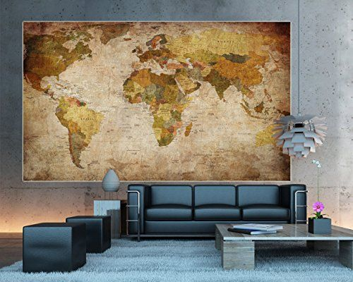 New GREAT ART Wandbild Dekoration Weltkarte Fototapete Vintage Retro Motiv XXL Weltkarten Reisen Lifestyle Wanddeko x cm