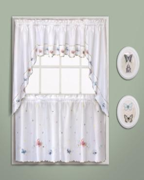 Butterfly embroidered kitchen tiers valance and swags - Swag valances for bathroom windows ...