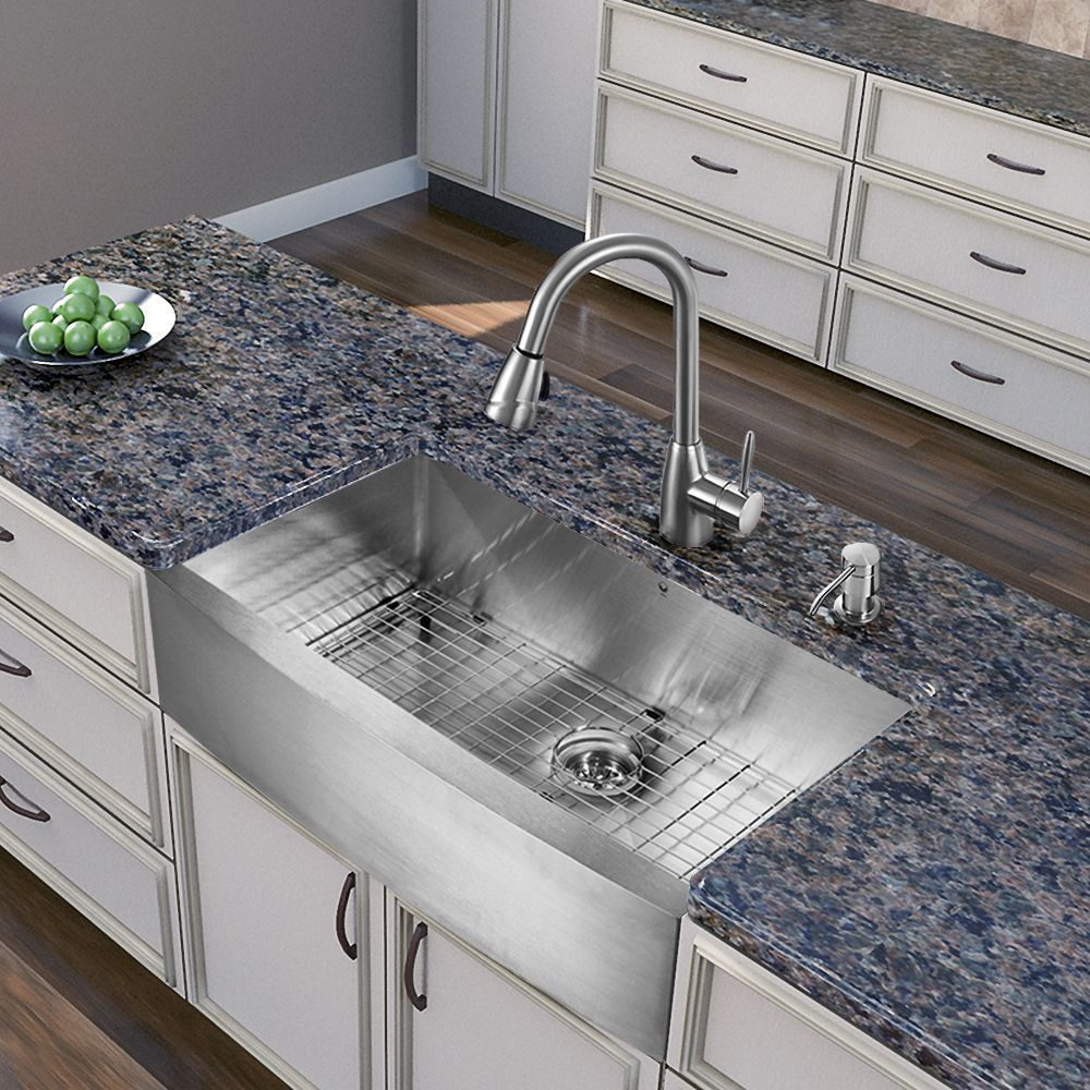 Vigo All-in-One 36-inch Farmhouse Stainless Steel (Silver) Kitchen ...