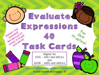 Set of 40 Task Cards Covering CCSS and SCCCR Standards!Have you ever thought...How can I make solving expressions FUN?!  Well, here's the answer...Evaluate Expressions Task Cards!Task cards can be used in Math Centers or in a Game of SCOOT!  I have included 40 task cards, student recording sheets, an answer key, and simple instructions to play the game.