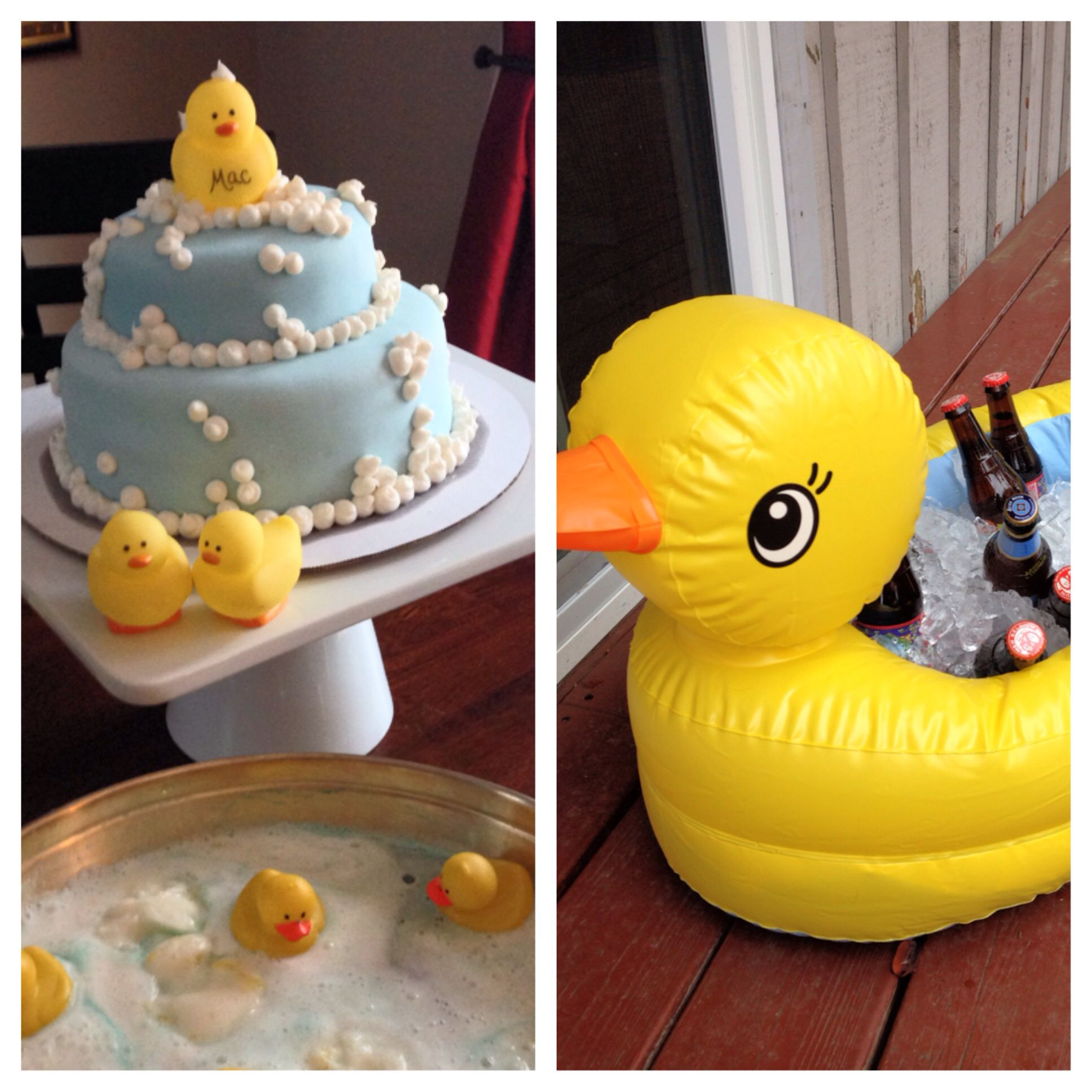 Rubber duck themed baby shower Ducky and bubbles cake by Jenna