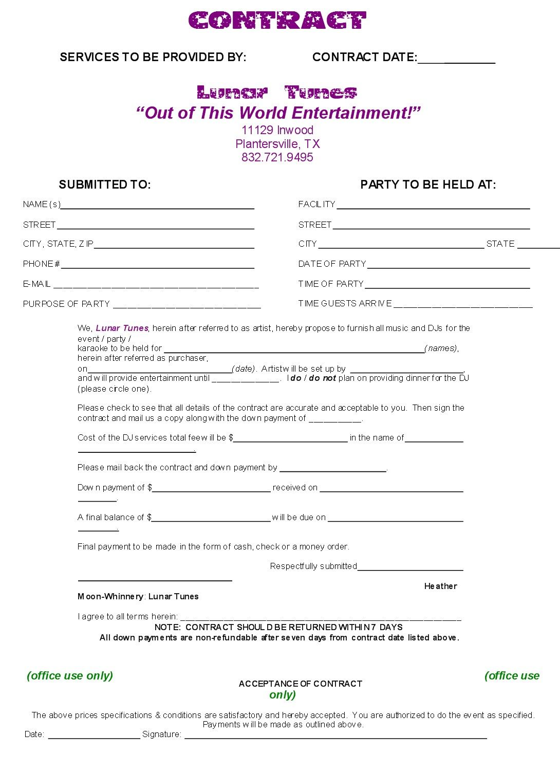 Gallery Of Dj Contract Template Non Compete Agreement Dj Contract