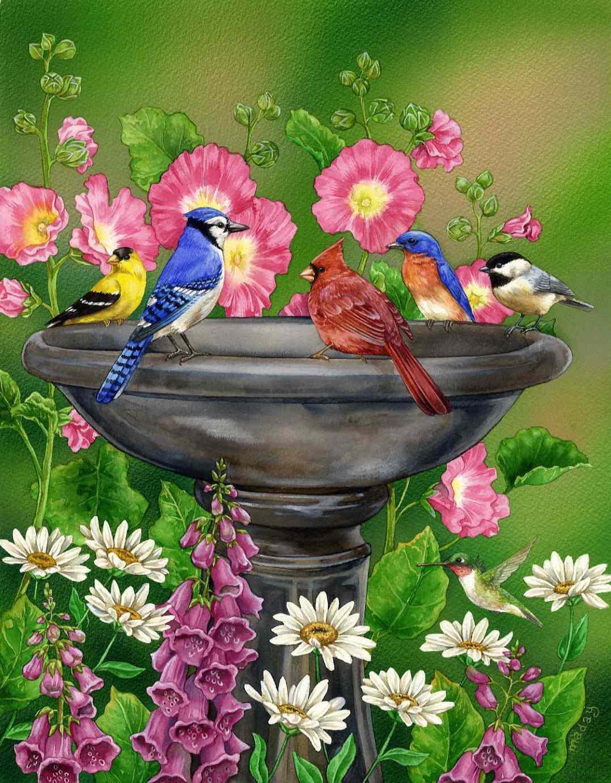 Art by Jane Maday, with birds, flowers, and birdbath