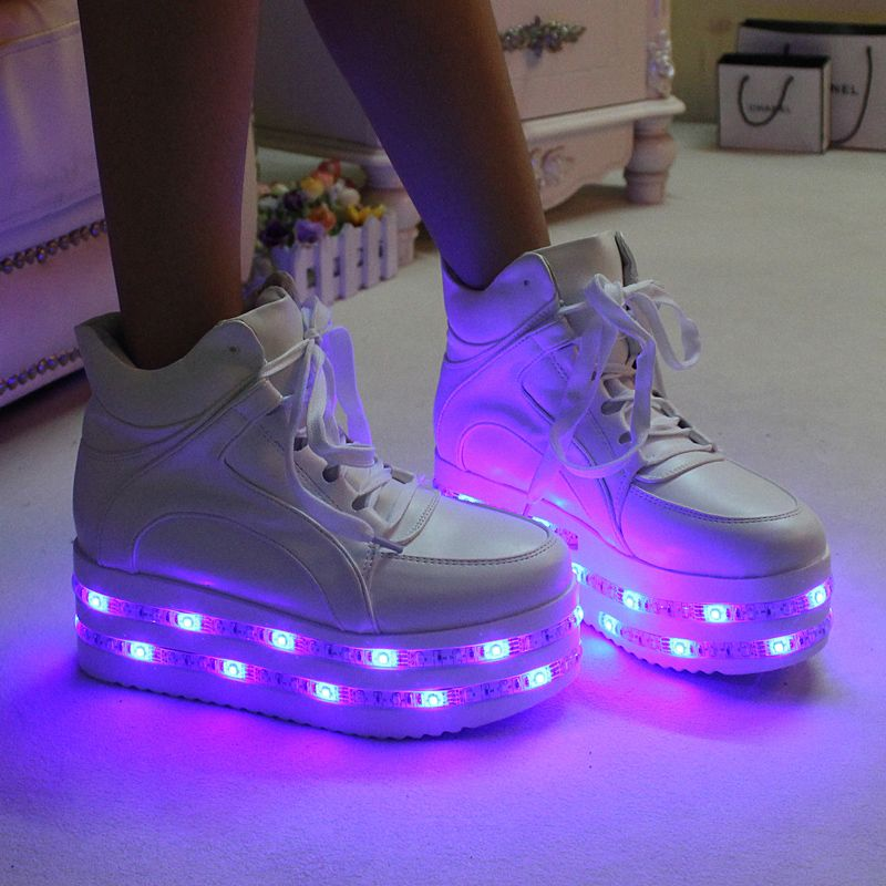 d0730eebcc9 This cool platform LED sneakers can emit 7 different colors of ...