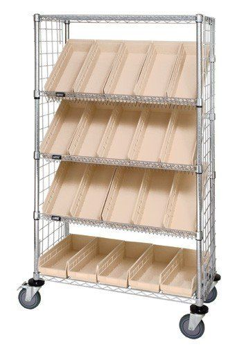 Chrome Slanted Wire Shelving Enclosure Plastic Bin Cart All