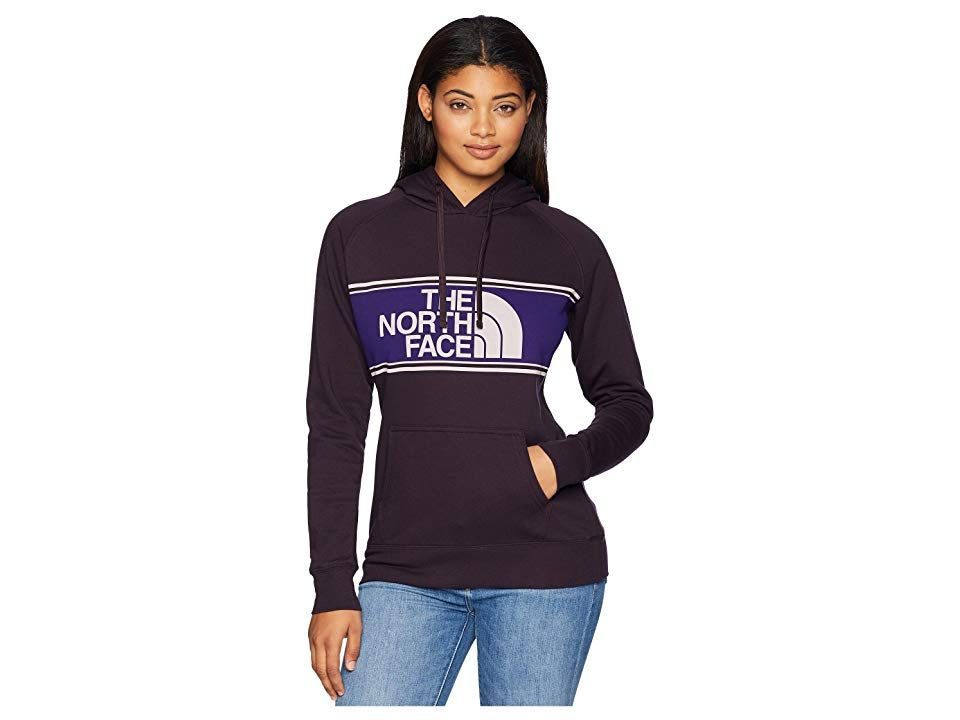 The North Face Edge to Edge Pullover Hoodie (Galaxy Purple) Women's Sweatshirt. The North Face Edge to Edge Pullover Hoodie sports a feminine silhouette and comfort that's perfect for hanging out around the campsite. Pullover hoodie in a midweight  brushed-back fleece knit. Half Dome logo printed in a bold stripe across the chest. Attached hood with adjustable drawstring. Raglan long sleeves. Kangaroo pouch pocket. Banded cuff #TheNorthFace #Apparel #Top #Sweatshirt #Gray