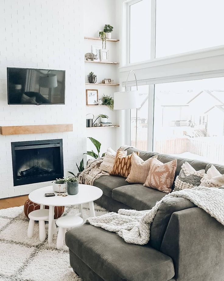 Large grey sectional and kid friendly living room ideas ...