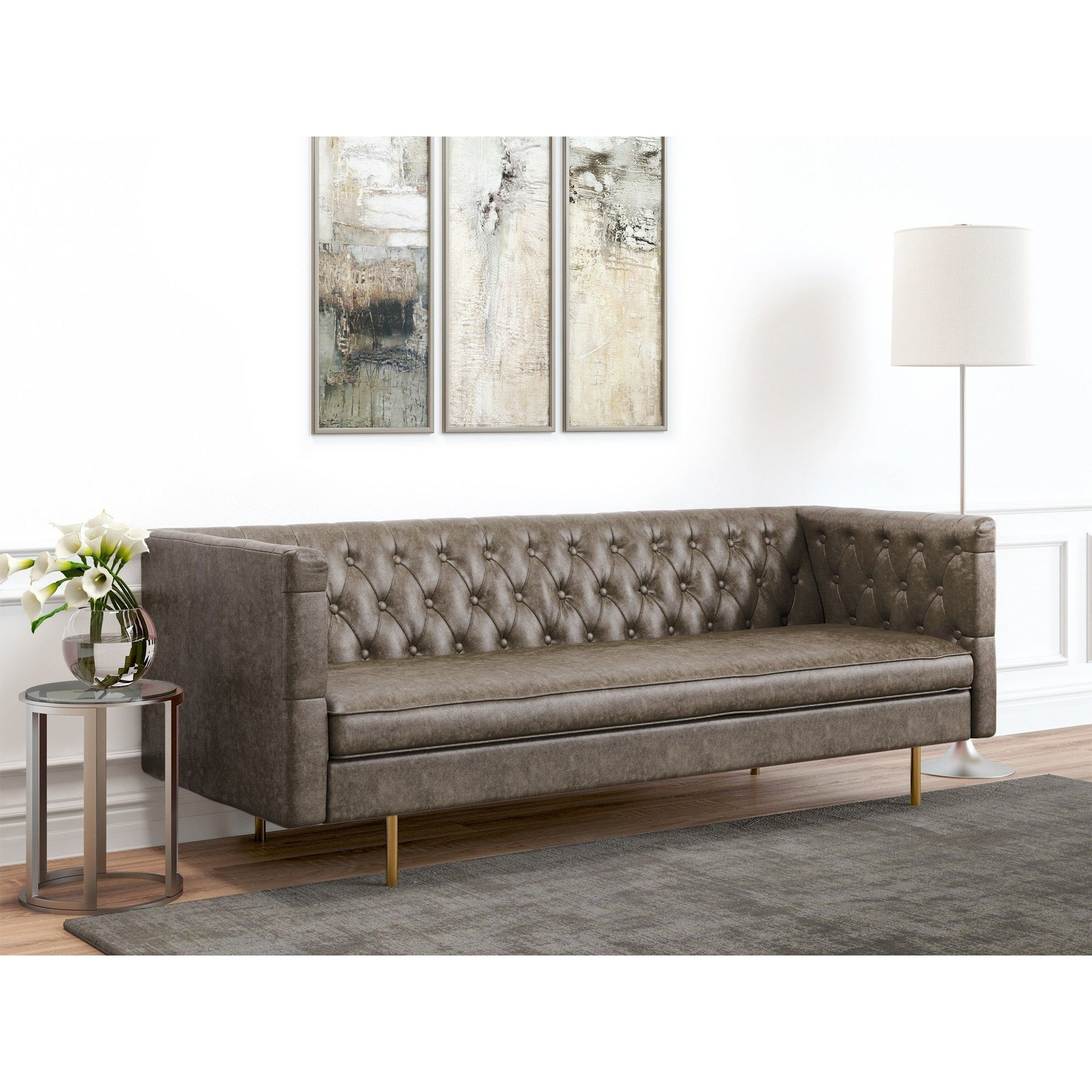 Strange Barnaby Tufted Faux Leather Sofa Vintage Gray Af Lifestyle Beatyapartments Chair Design Images Beatyapartmentscom