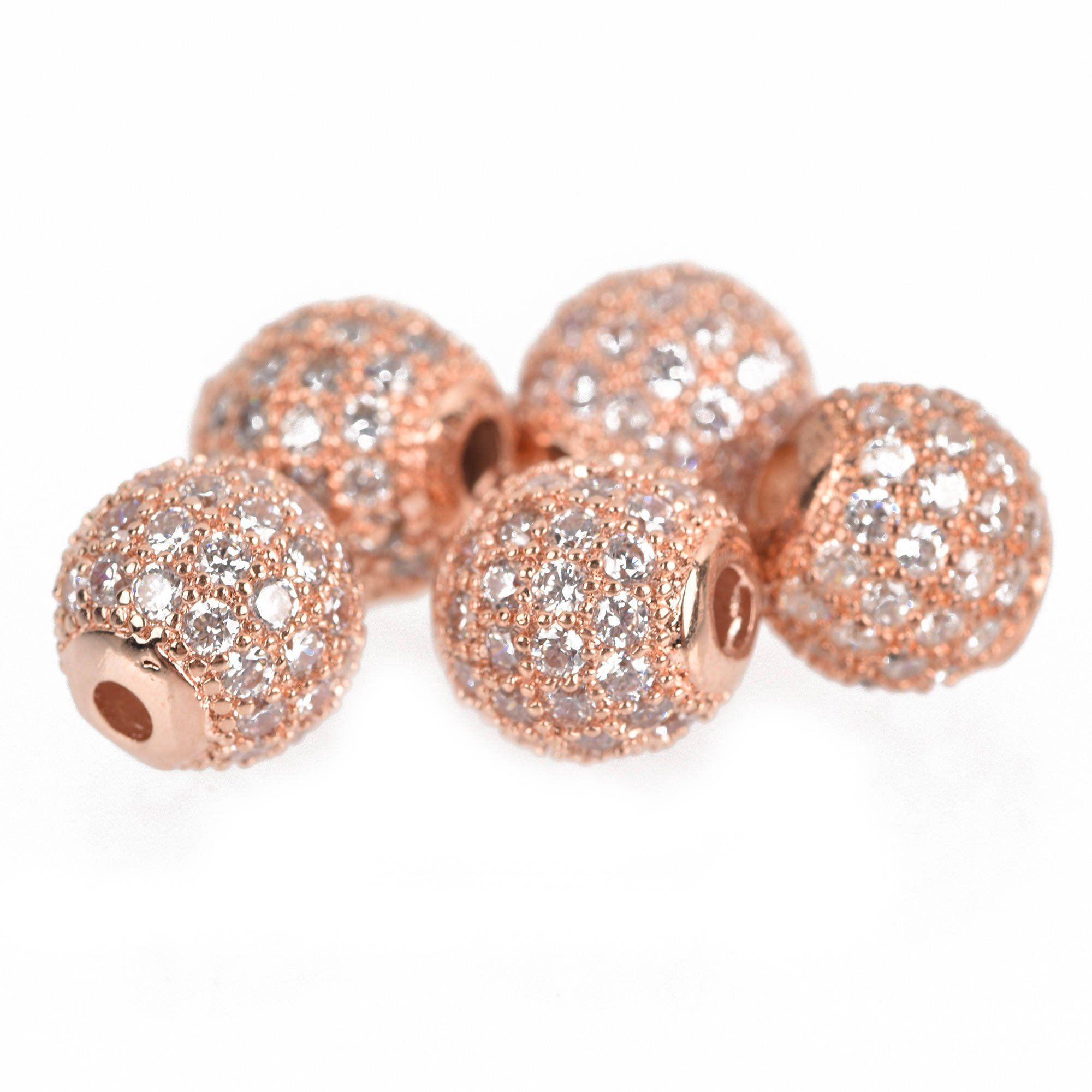 4e0b263af CZ Rose Gold Pave Round Ball, Micro Pave Rose Gold Shamballa Ball beads,  Cubic Zirconia,Rose Gold Pave Bead,1/2/10pcs, 4/5/6/8/10/12/14/16mm