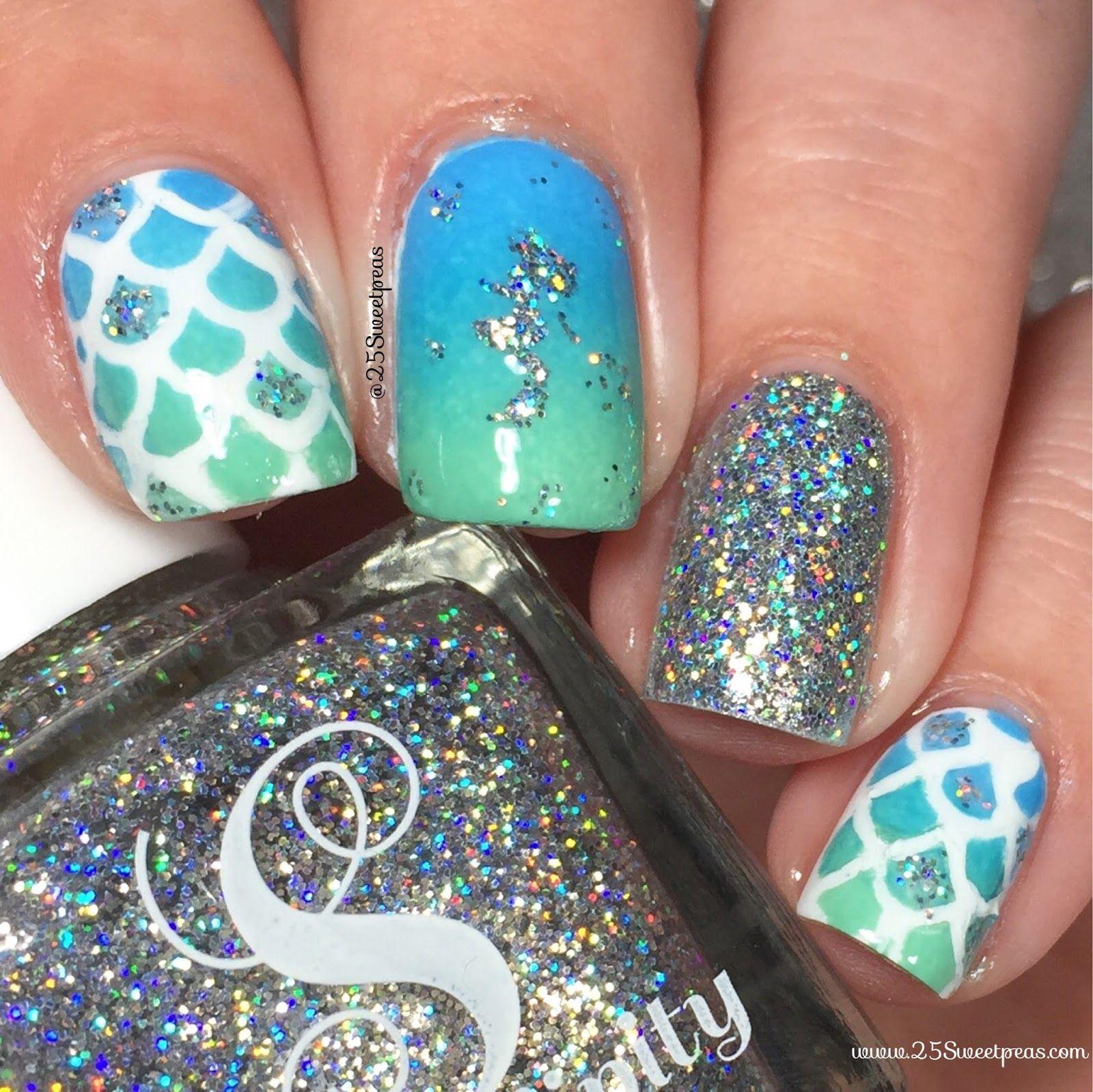 Mermaid Nail Art Using Snail Vinyls And Serendipity Polish