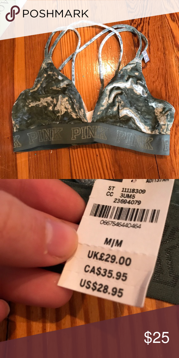 6b95d1a75d Vs pink velvet green bralette Vs pink green velvet bralette. Light green  strappy crushed velvet with a logo band. New with tags orig  30 PINK  Victoria s ...