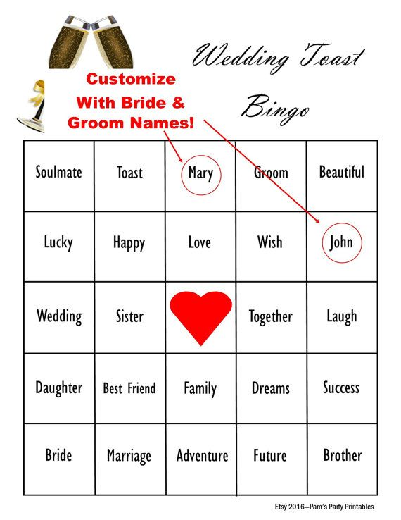 customized wedding day toast bingo game maid of honor best man father of bride speeches clean