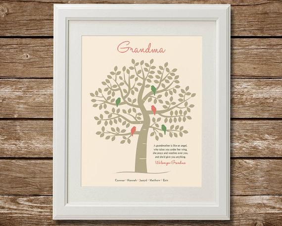 Grandma Gift Family Tree, Grandma Quote, Christmas Gift from