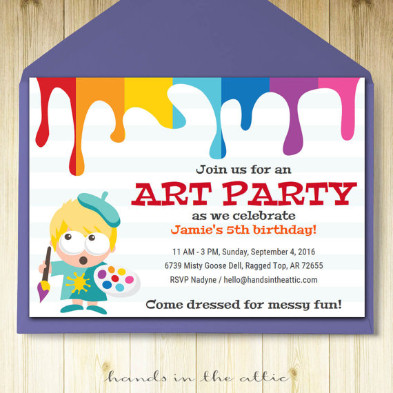 Art party invitation card template printable kids painting - birthday invite templates free to download