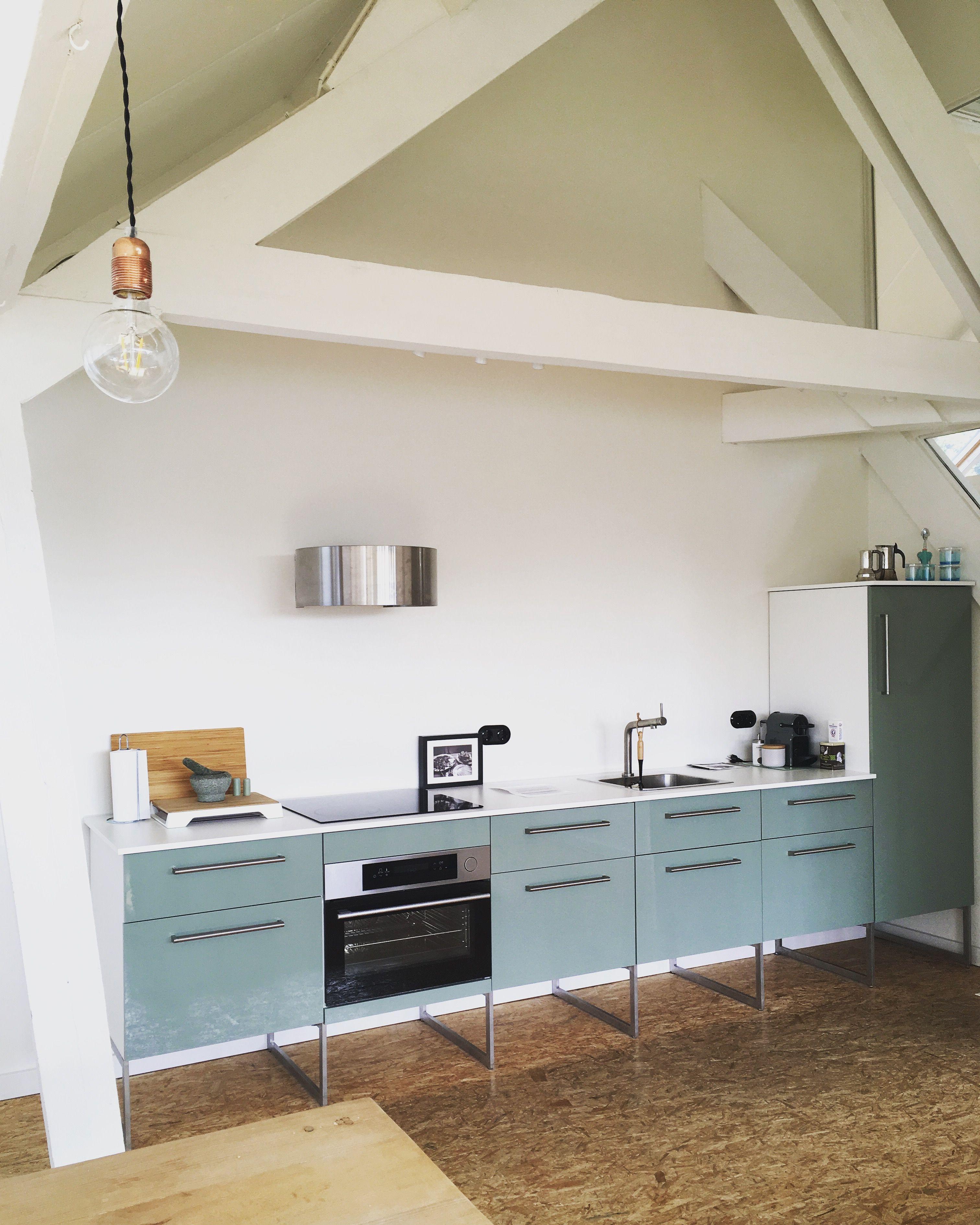 Green Ikea Kallarp Kitchen On The Attic Of The School