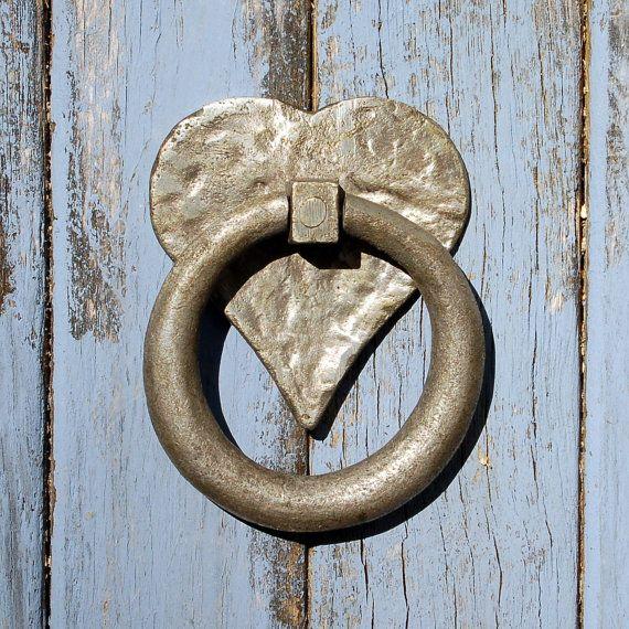 Antique Heart Shaped Door Knocker Pewter Valentine