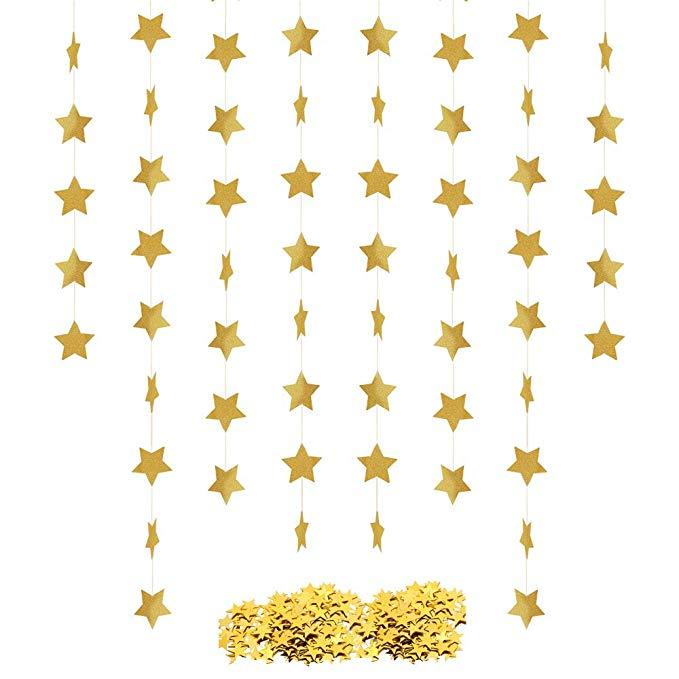 Amazon Com Star Confetti Banner Garland Star Table Confetti Bunting Banner Metallic Star Sequin Twinkle Sparkling Hanging Banner Star Confetti Silver Glitter