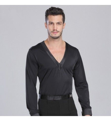 412581db9 Adult boy's Men's deep v neck long sleeves stain ribbon latin dance shirt  top black