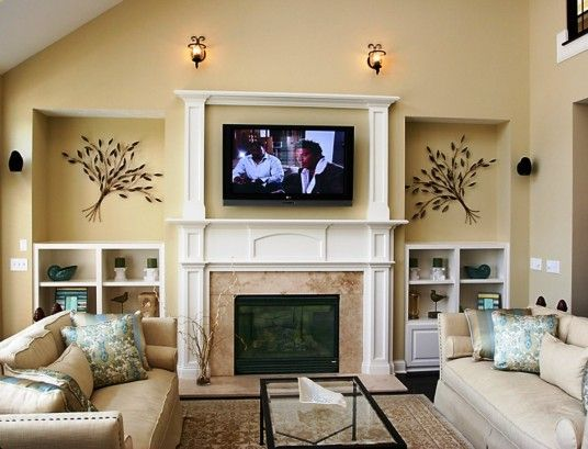 Decor Over Fireplace cool living room decor with fireplace and tv | living room design