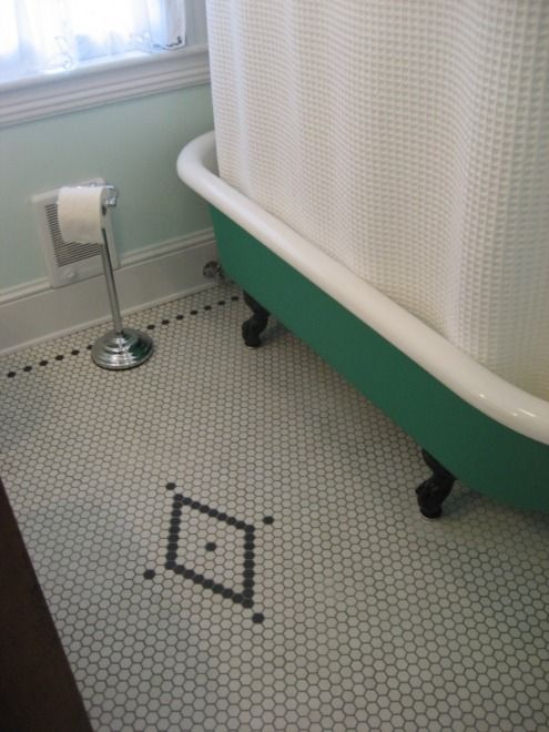 Black And White Hexagon Tile Bathroom Floor Cabinet Hardware ...