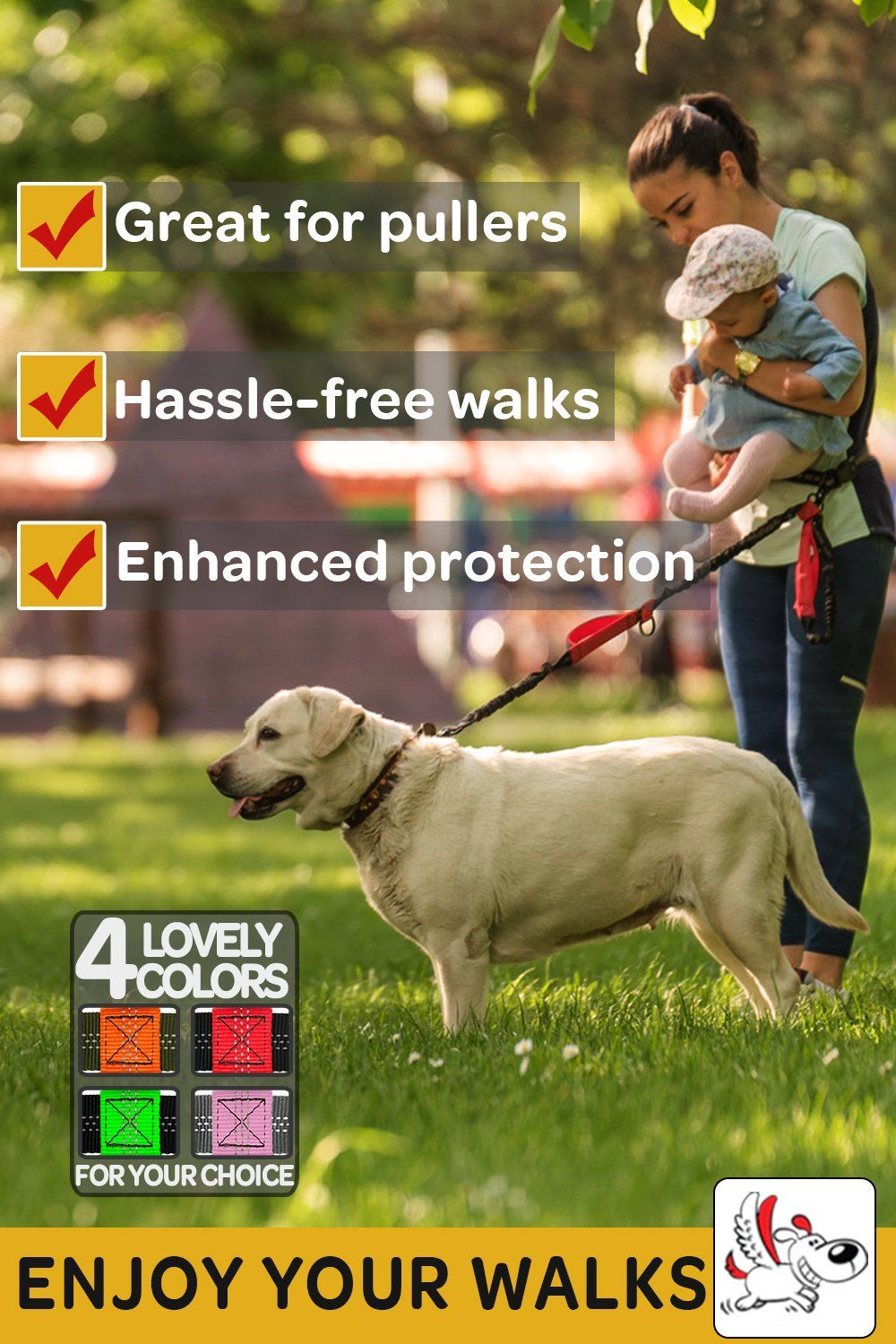 Hands Free Dog Leash For One Two Medium To Large Dogs Up To 150lbs