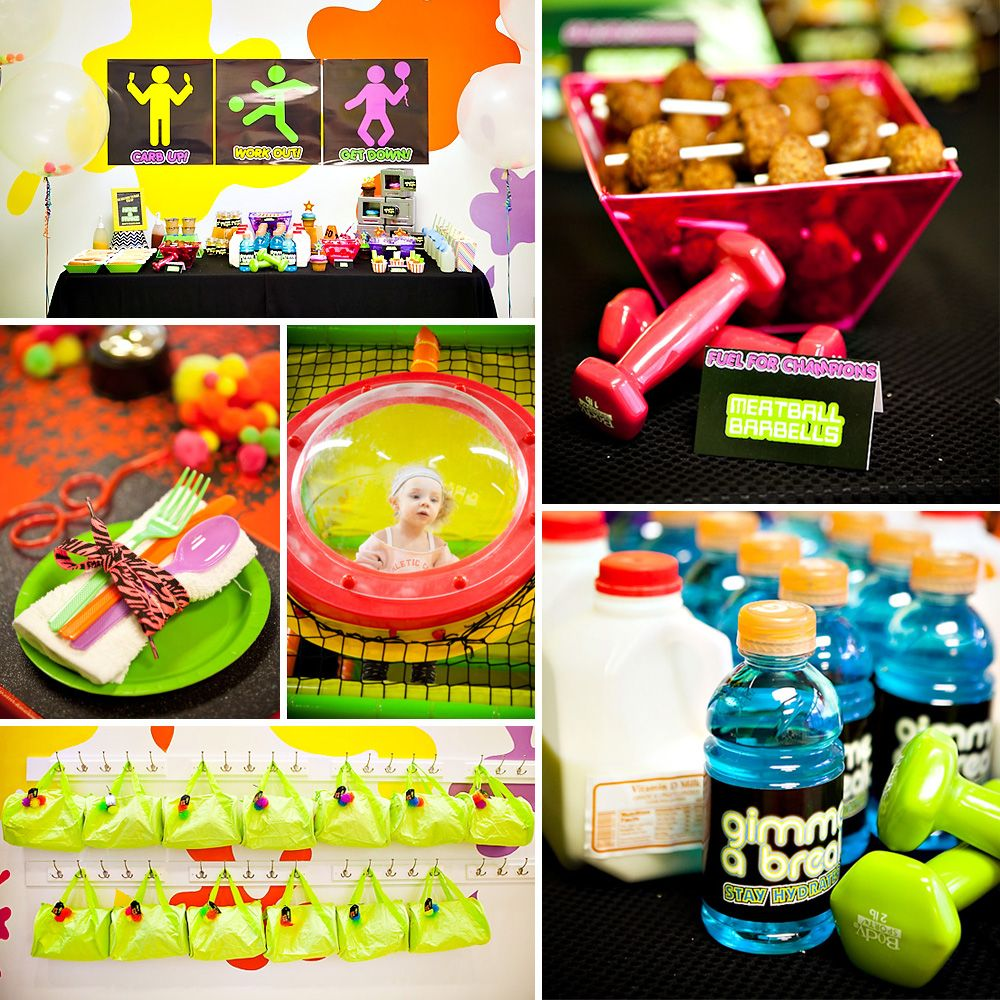 """80's + Neon Inspired """"Work It Out"""" Theme Birthday Party"""