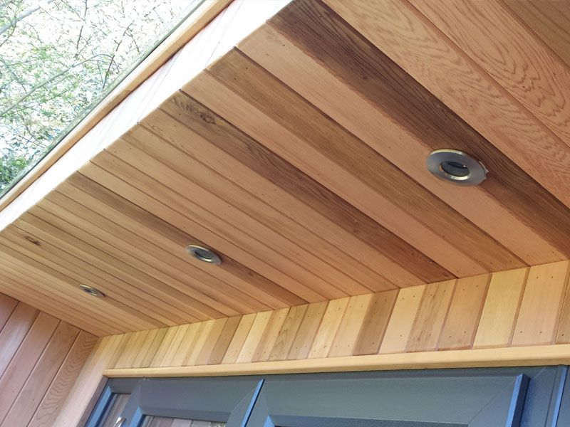 Western red cedar cladding garden office detail cabin for Cedar garden office