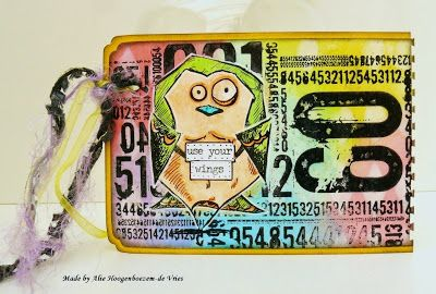 """Crazy Bird Tim Holtz on a tag - """"Use your wings"""", made by Alie Hoogenboezem-de Vries"""