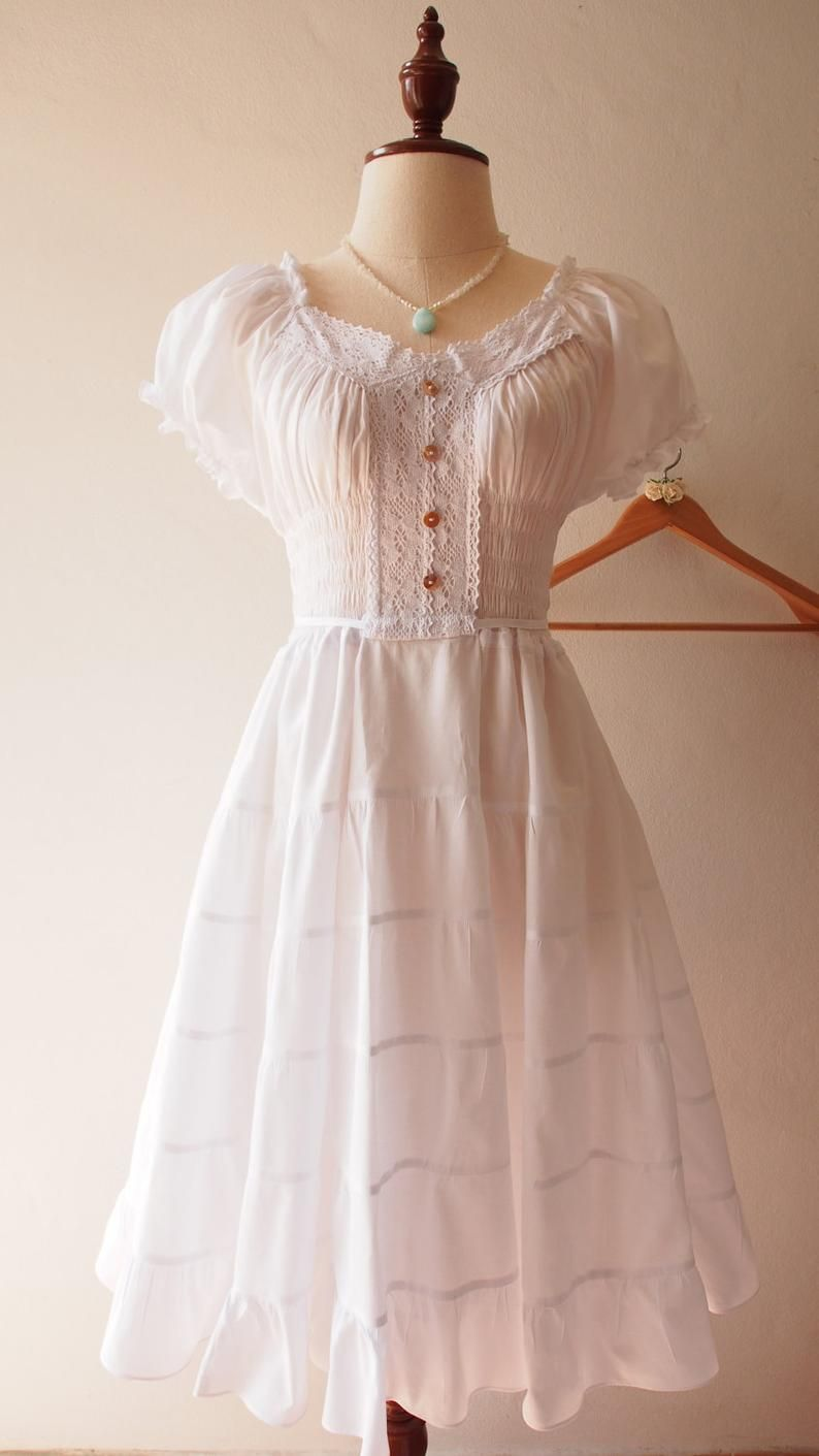 Pin By Ikke Vet On Outfit Tiered Dress Vintage Style Dresses White Sundress [ 1411 x 794 Pixel ]