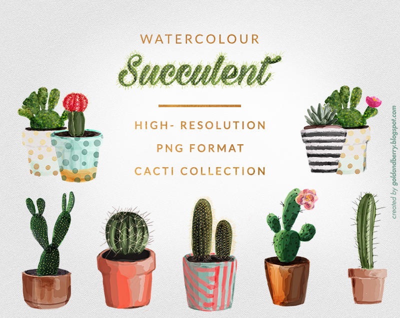 Freebies watercolor succulents cactus clip art collection 8 free png images gold and berry