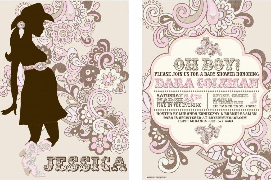 pink western baby shower invitation