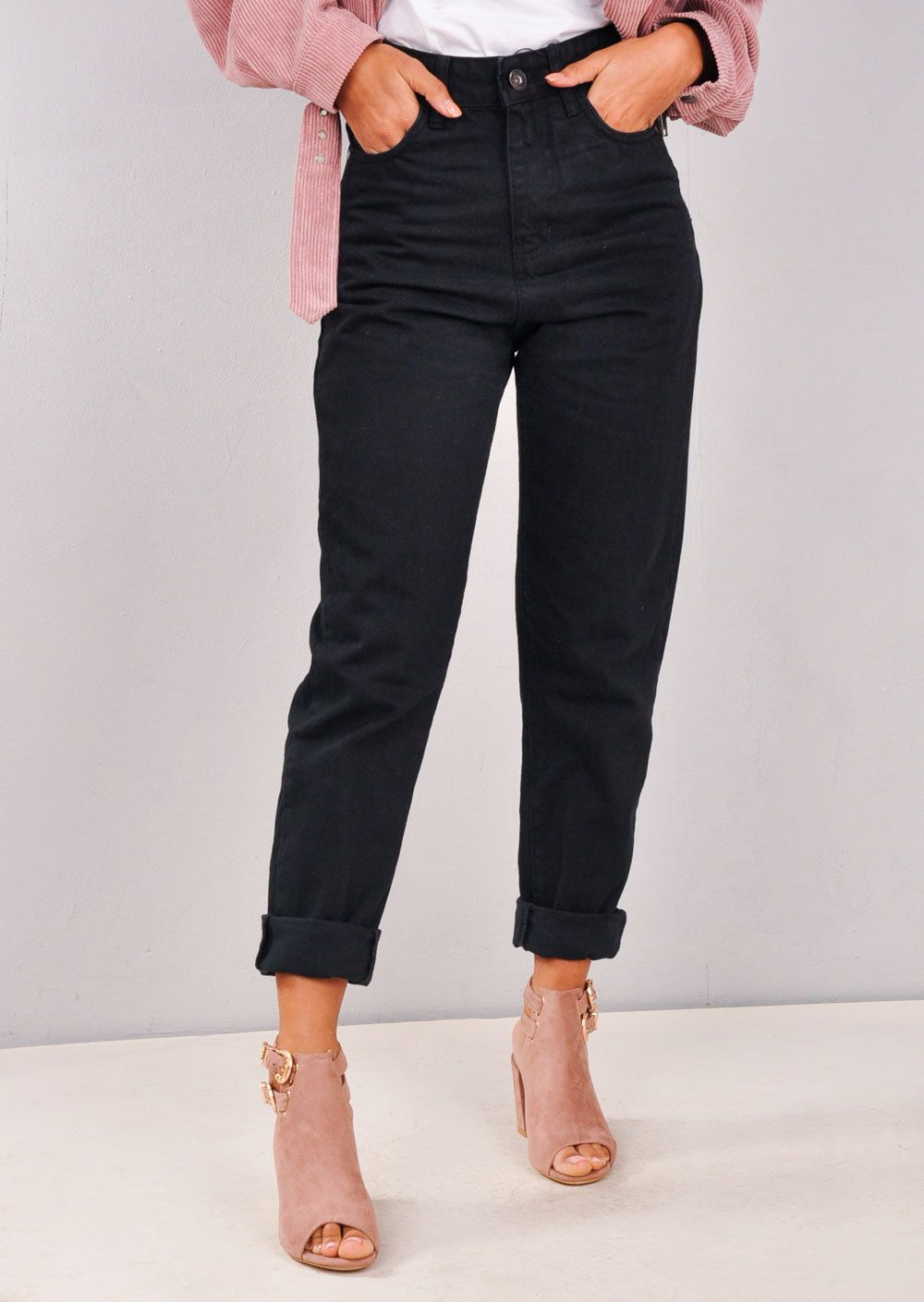 High Rise Denim Mom Jeans Black