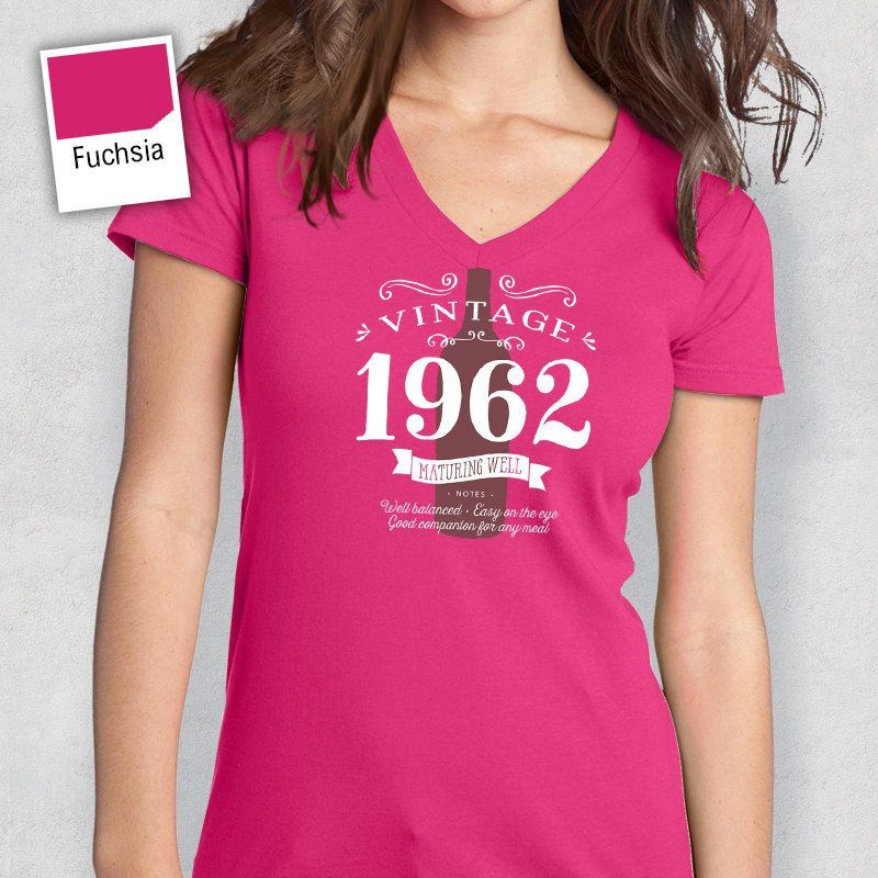 55th Birthday Womens V Neck Idea Present Or Gift 1962 For The Lucky 55 Year Old