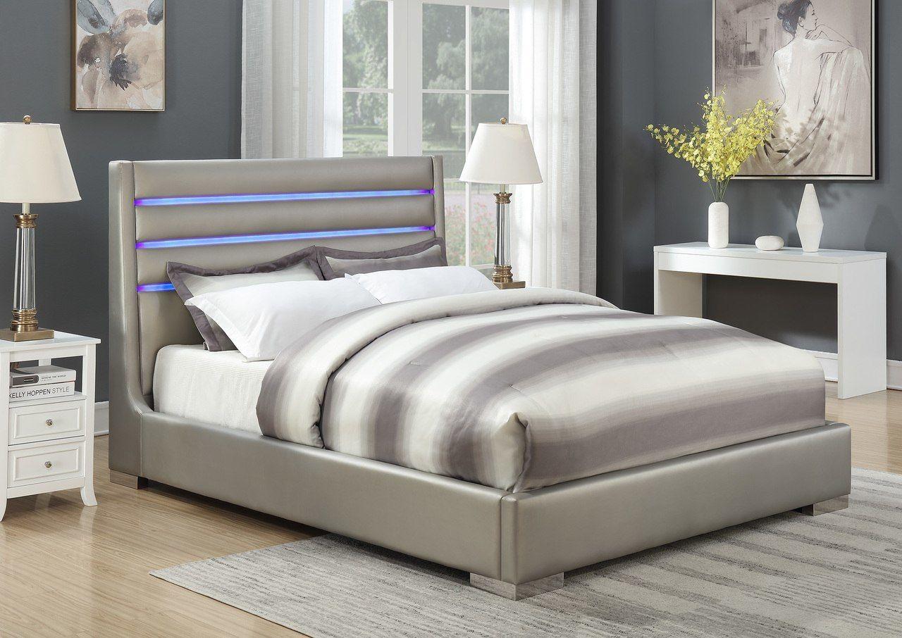 Coaster Furniture Metallic Grey Queen Size Bed 302075 Savvy